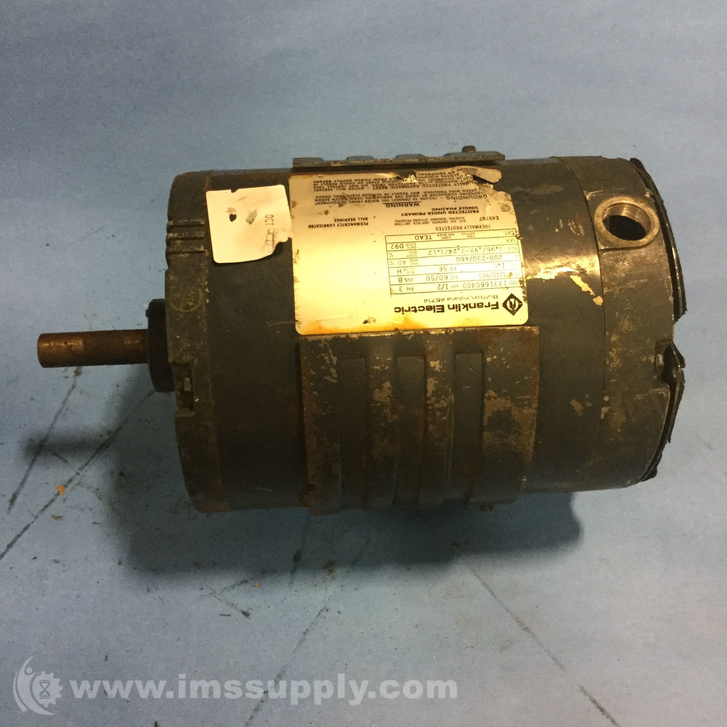 Franklin Electric 1331660400 Motor 0 5hp 1140 950rpm 208