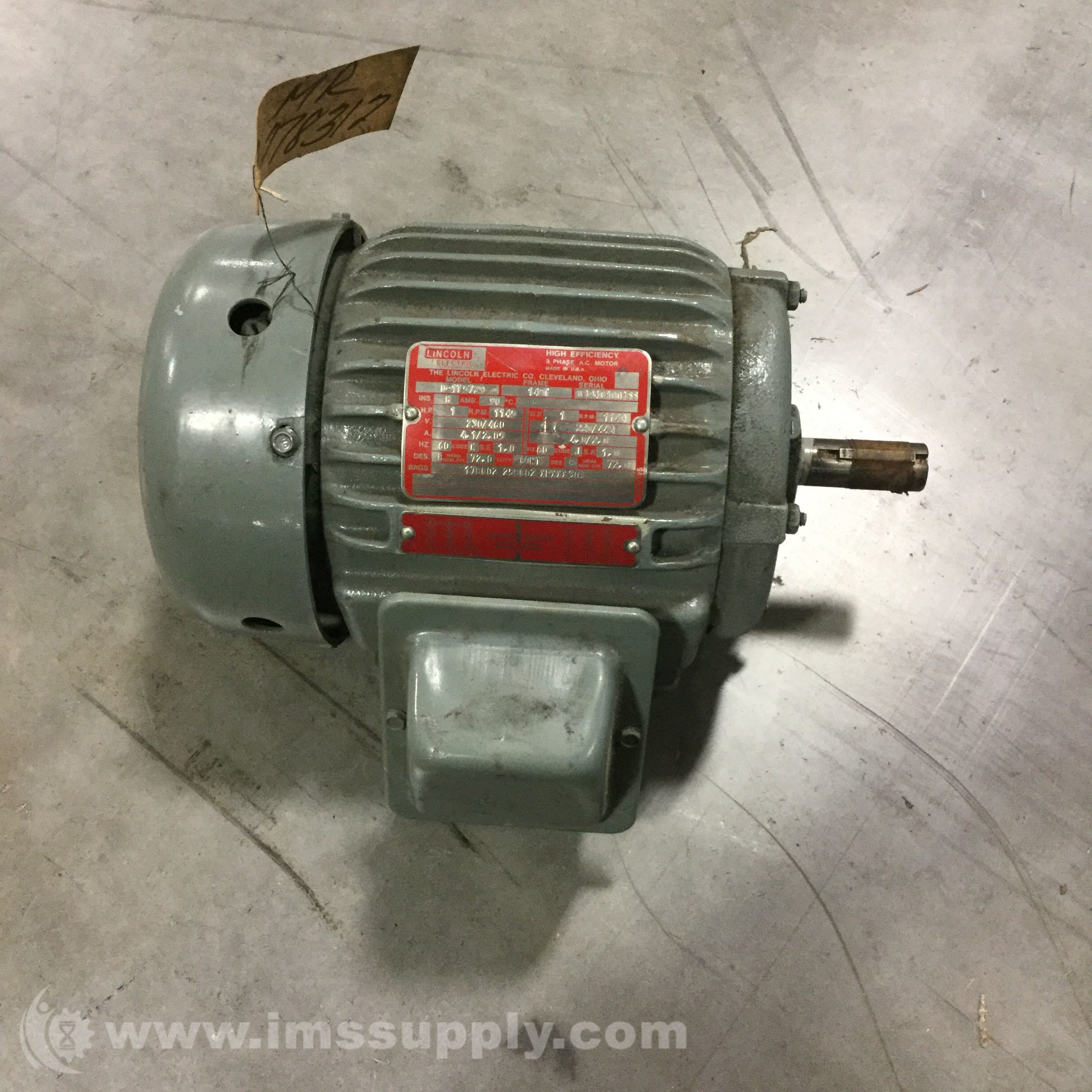 Lincoln electric d 1t5729 1hp 1145rpm 145t frame 230 460v for Lincoln electric motors catalog