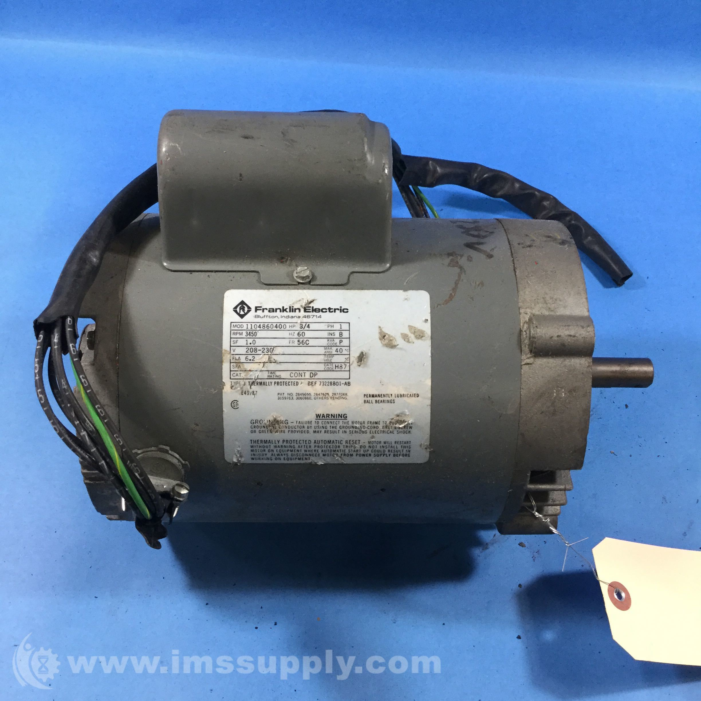 Franklin Electric 1104860400 3 4hp 3450rpm 1ph 56cframe
