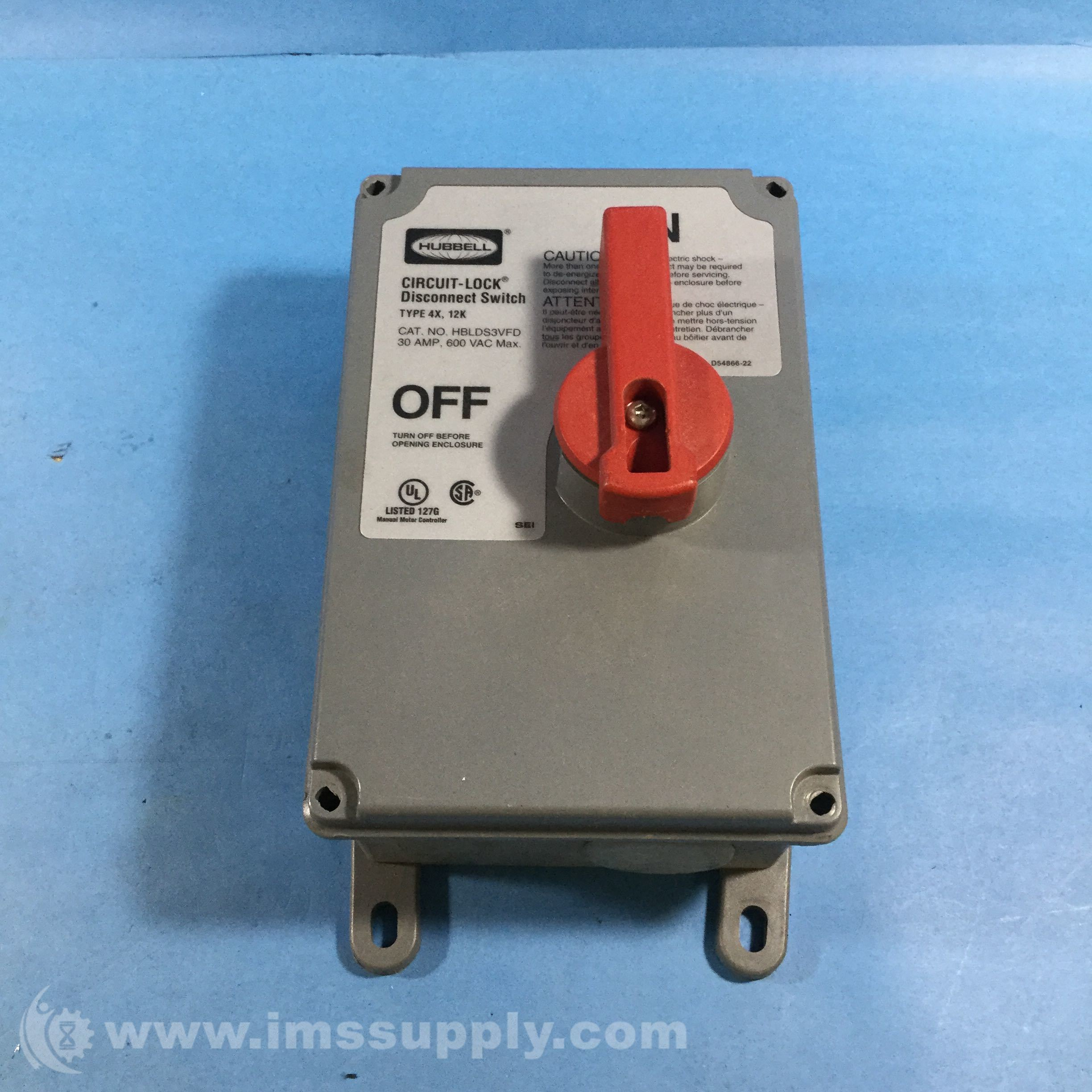 Hubbell Hblds3vfd Circuit Lock Disconnect Switch 30a Type