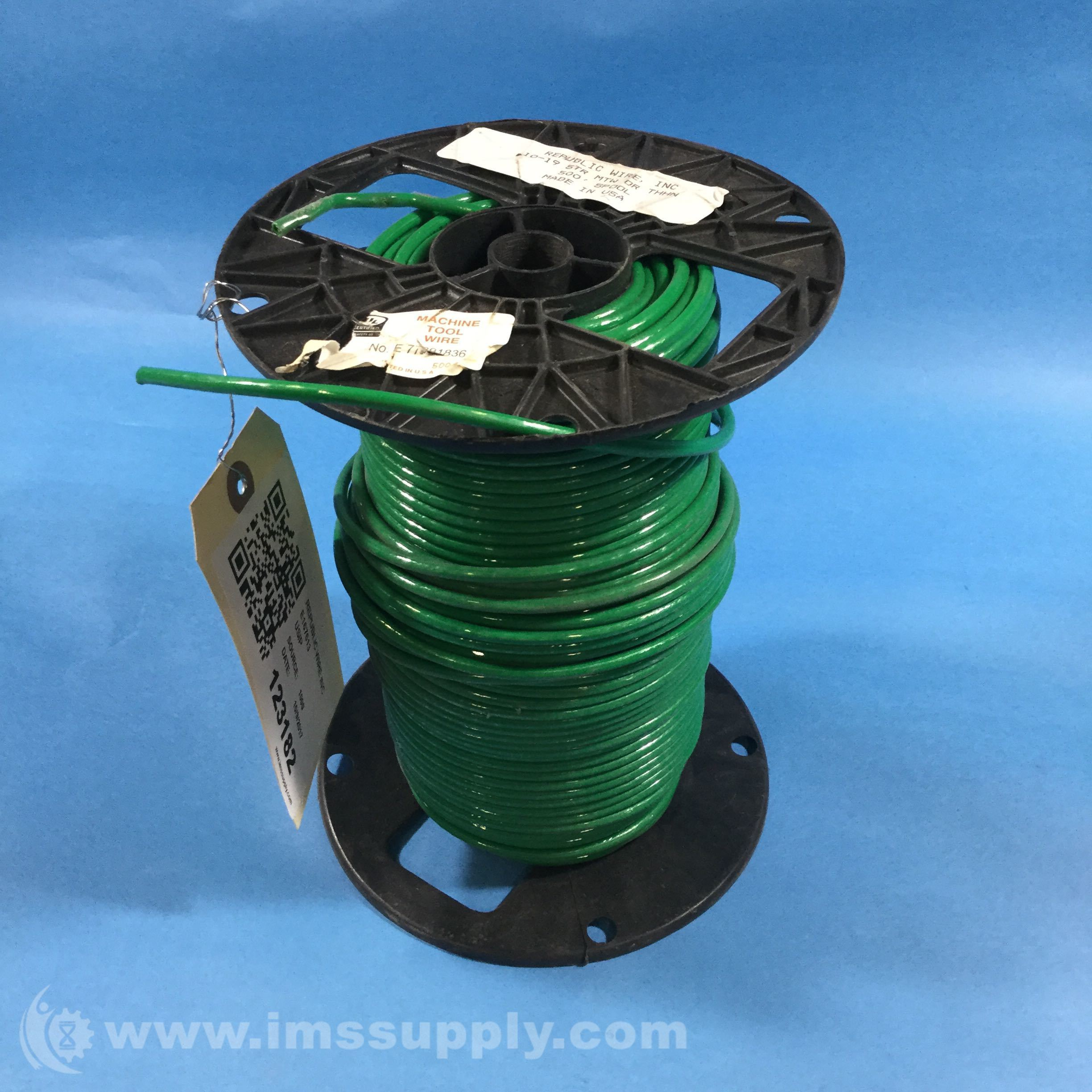 Republic Wire Inc E167613 Green, 10-19 STR MTW or THHN Wire Spool ...