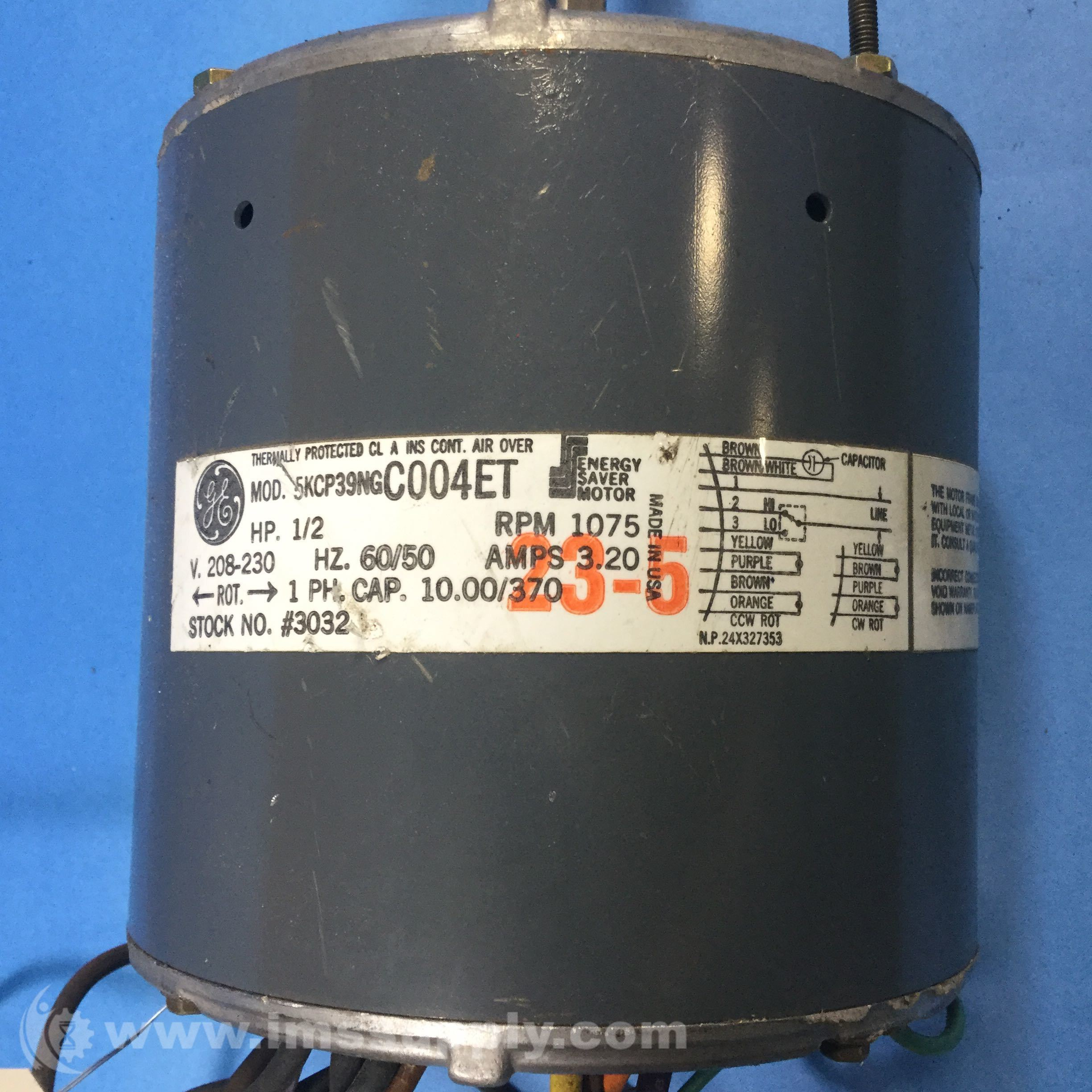 General Electric 5kcp39ngc004et 1 2hp 1075rpm 1ph Motor