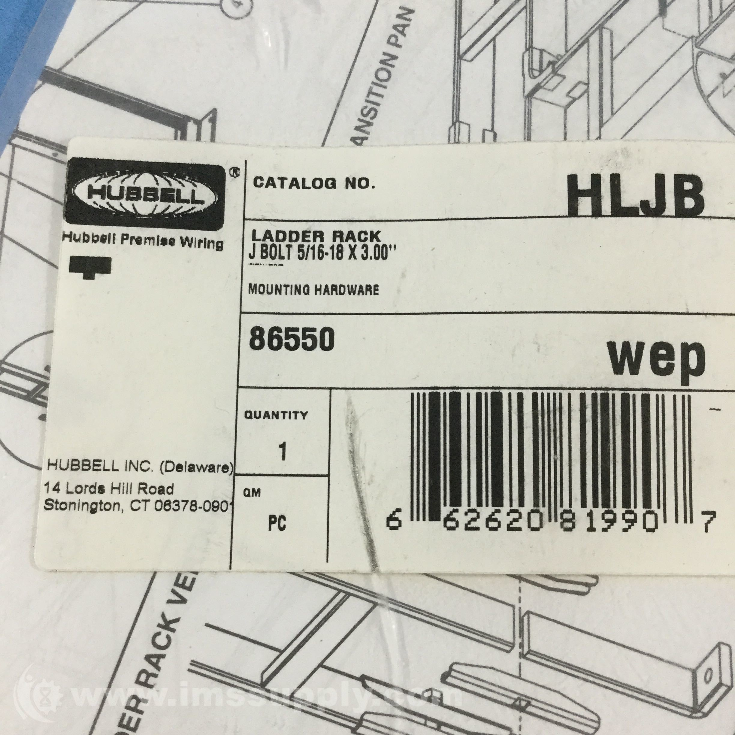 Hubbell Hljb Ladder Rack J Bolt 5 16 18x300 Mounting Hardware Qm Series Wiring Diagrams Ims Supply