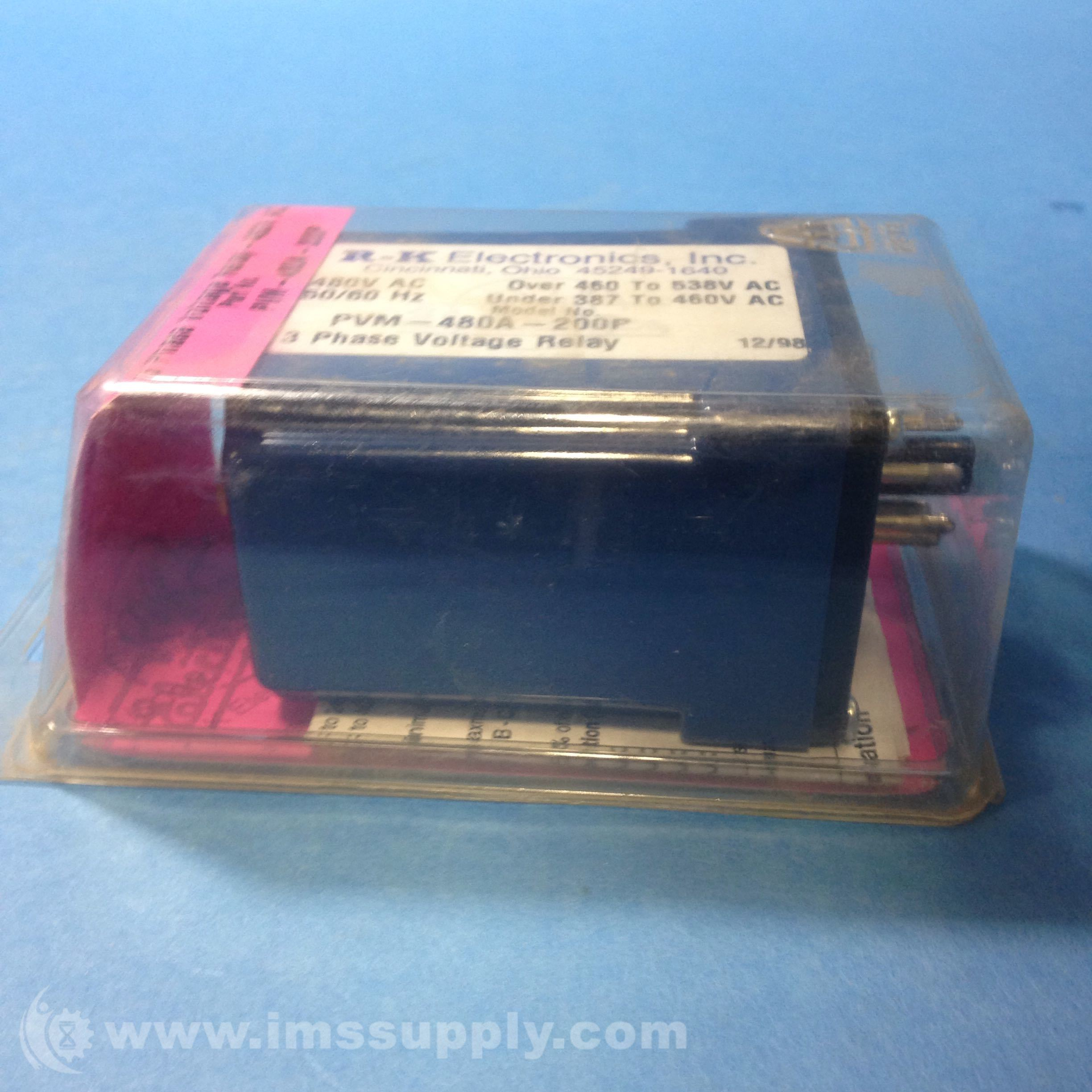 Rk Electronics Pvm 480a 200p Relay Voltage Monitor 3phase 480vac Ims Supply
