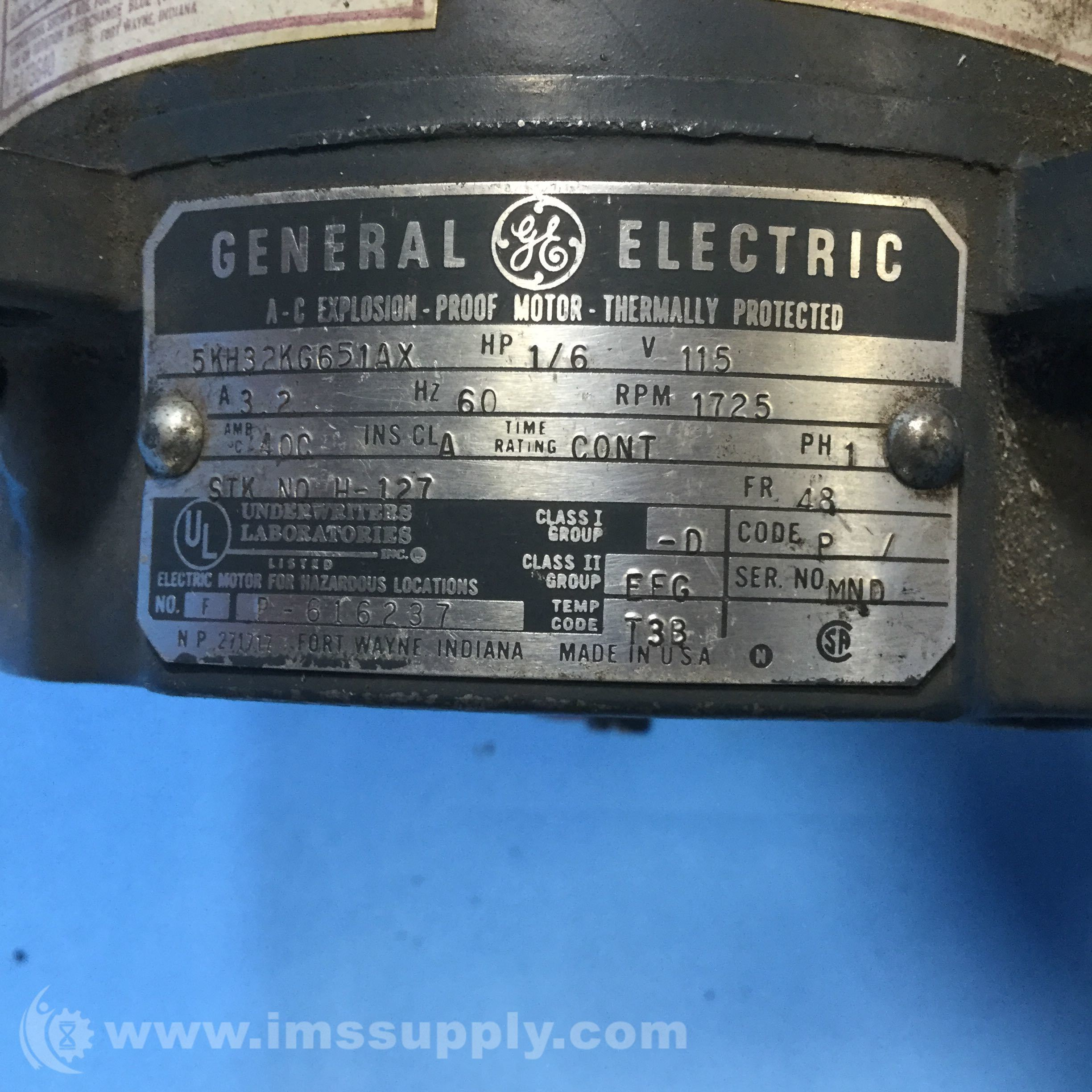 General electric 5kh32kg651ax 1 6hp 1725rpm 1ph 48frame ac for Ge electric motors catalog