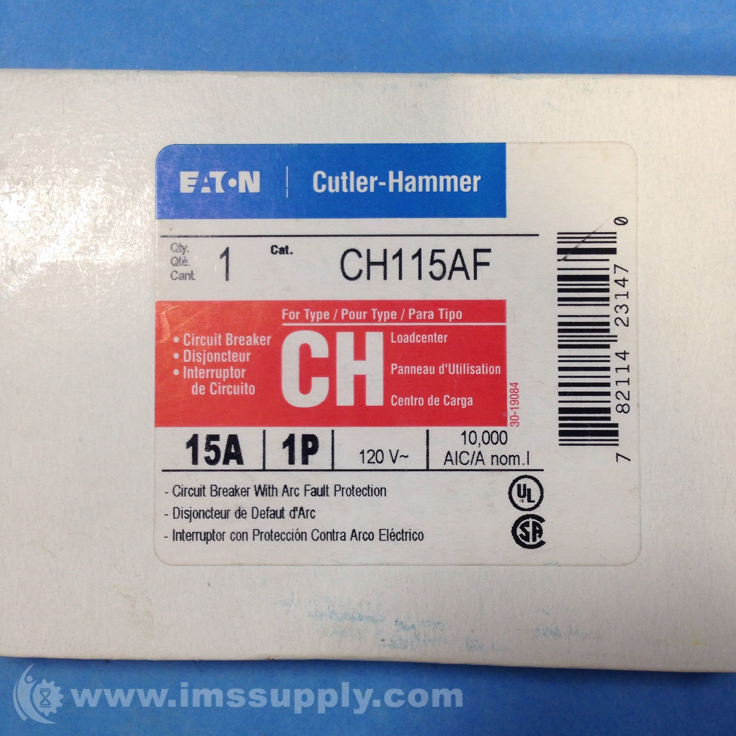 Cutler Hammer Ch115af Circuit Breaker With Arc Fault Protection Identification Labels Ims Supply