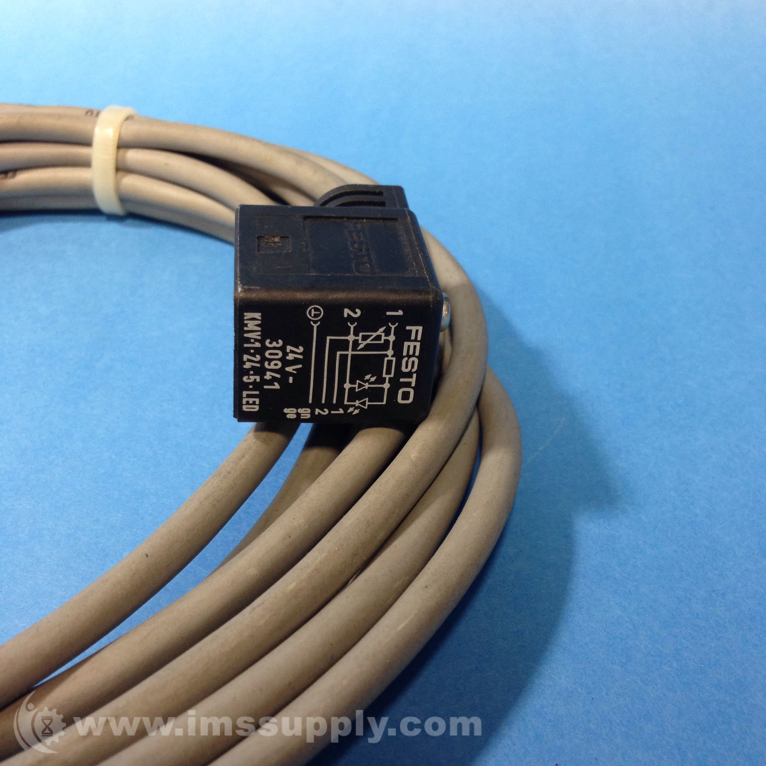 Festo 30941 Kmv 1 24 5 Led Plug Socket With Cable Ims Supply Volt Wiring And Receptacle