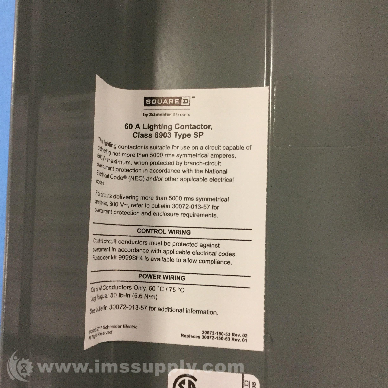Square D 8903SPG3V02 Lighting Contactor 600VAC 60AMP NEMA - IMS Supply