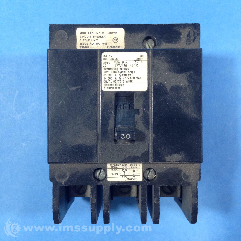 Siemens BQCH3B030 Circuit Breaker 30A 277/480VAC 3 Pole - IMS Supply