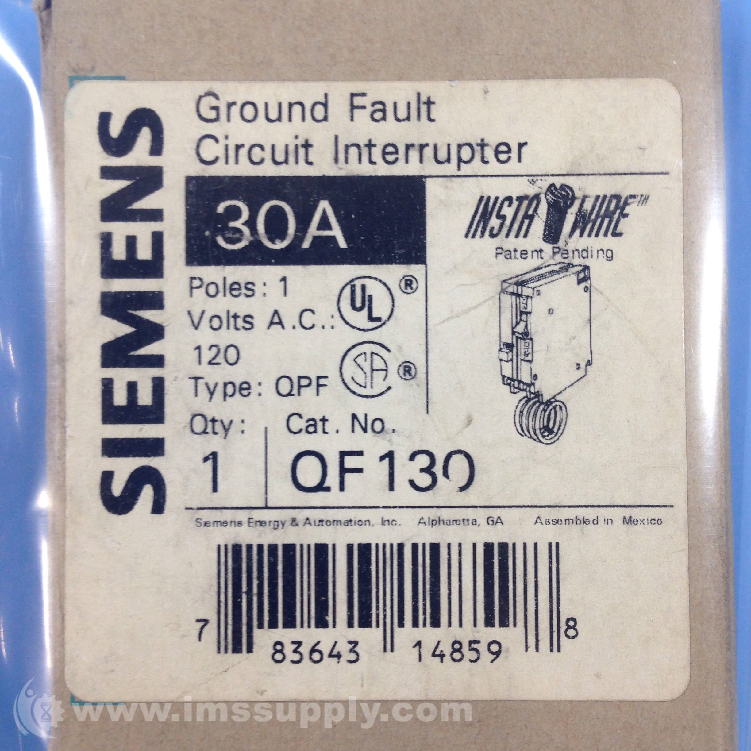 Siemens Qf130 Ground Fault Circuit Interrupter 120vac 30a 1 Pole Interupter Ims Supply