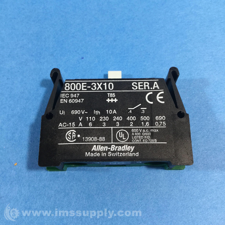 Allen Bradley 800E-3X10 10A 690V Contact Block