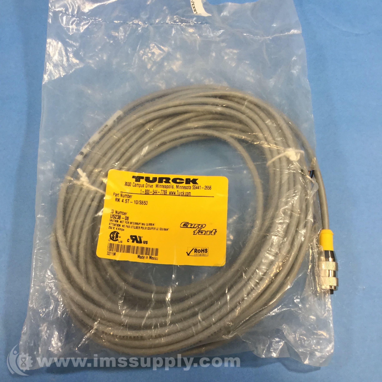 Turck RK 4.5T-10/S653 M12 Eurofast Cordset Straight Female - IMS Supply