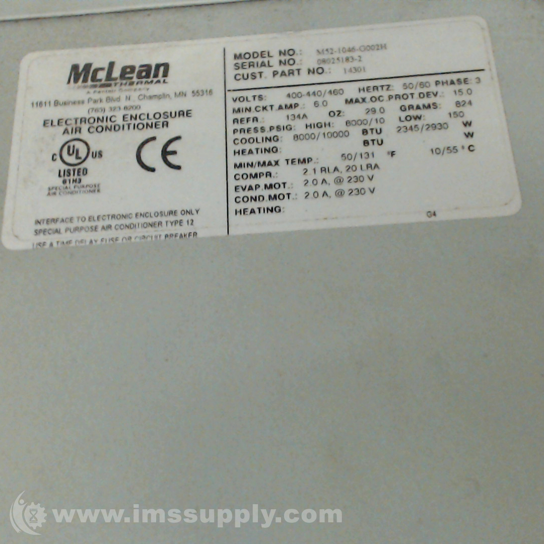 After Hours Stock Quotes: Mclean Midwest M52-1046-G002H Side-Mount Enclosure Air